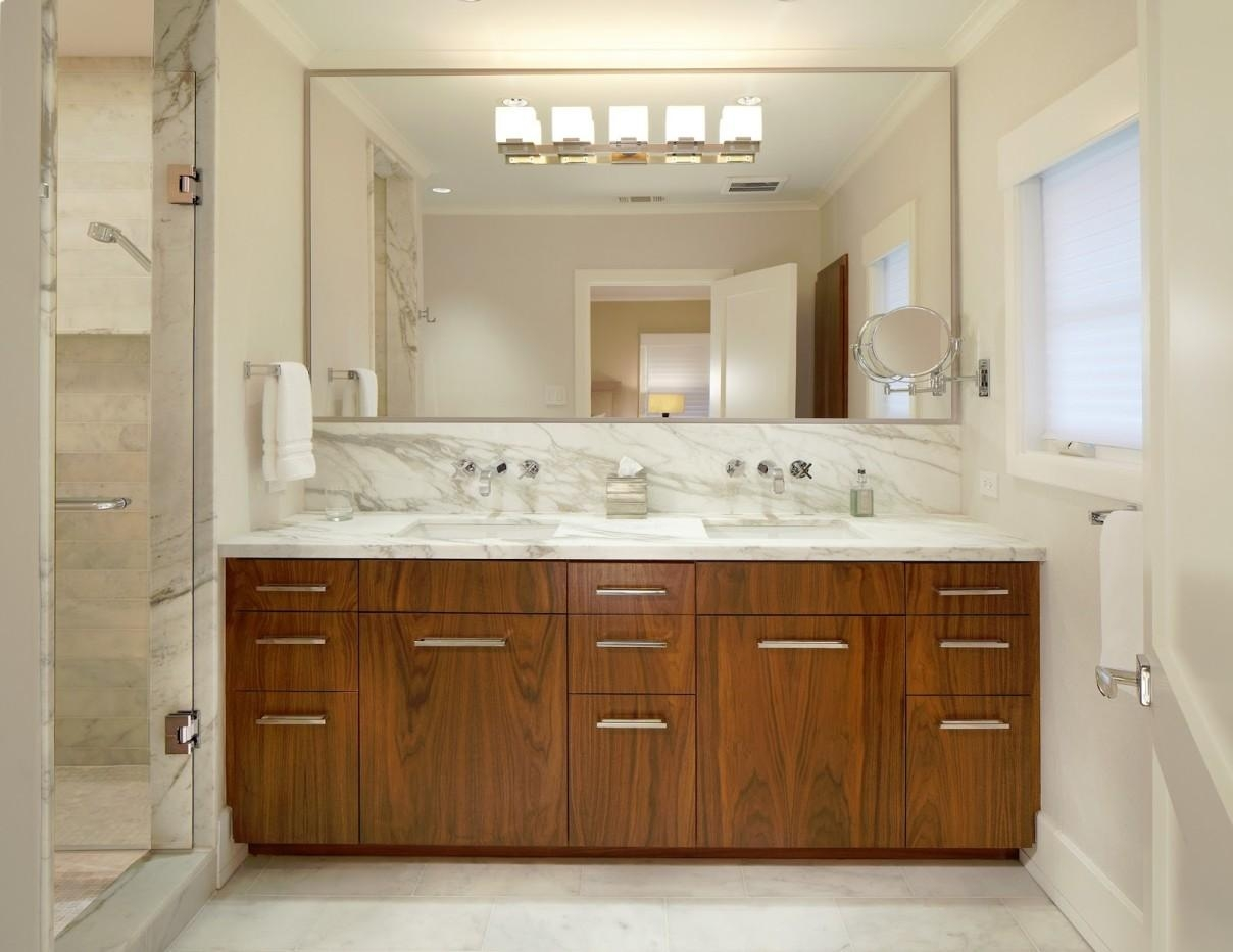 Bahtroom Large Bathroom Mirror Frames Above Wooden Vanity Plus With Large Bathroom Wall Mirrors (Image 1 of 20)