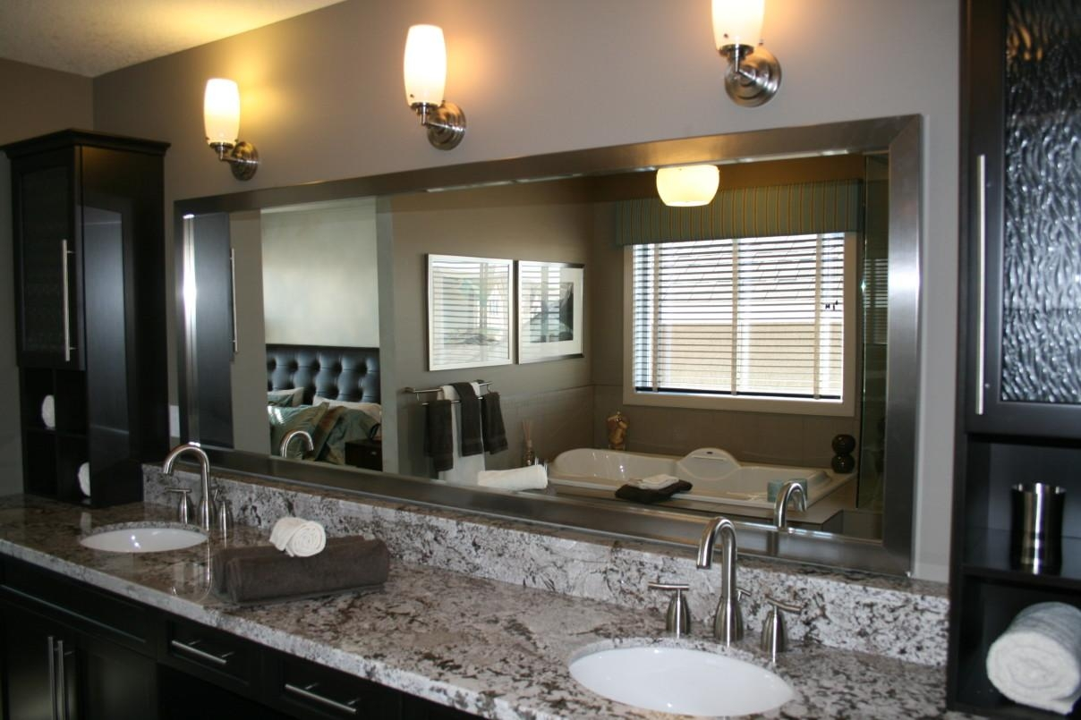 Bahtroom Long Custom Bathroom Mirror Frames On Grey Wall Paint And Intended For Custom Bathroom Mirrors (Image 2 of 20)