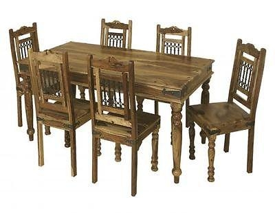 Bali 175Cm Dining Table And Set Of 6 Chairs Indian Wood Furniture Regarding Most Popular Indian Dining Tables (Image 4 of 20)