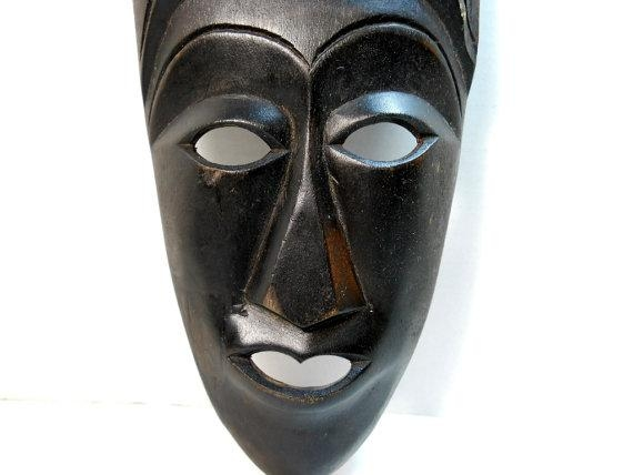Bali Hand Carved Wood Tribal Mask Wall Art Balinese Wood Regarding Wooden Tribal Mask Wall Art (View 11 of 20)