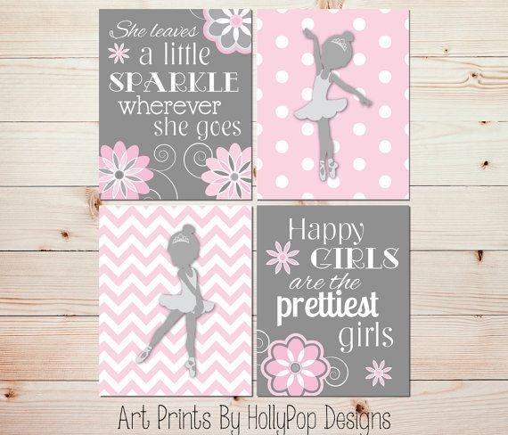 Ballerina Nursery Art Toddler Girls Room Wallhollypopdesigns With Wall Art For Little Girl Room (Image 6 of 20)