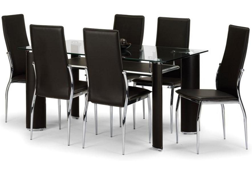 Baltimore Brown Faux Leather & Chrome Dining Set Sale Now On Your Regarding Newest Chrome Leather Dining Chairs (View 16 of 20)