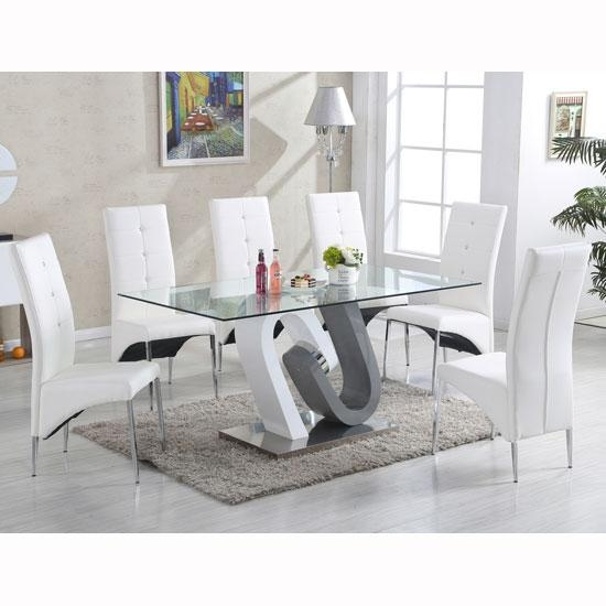 Barcelona Glass Dining Table In High Gloss And 6 Vesta Inside White Gloss Dining Tables And 6 Chairs (Image 3 of 20)