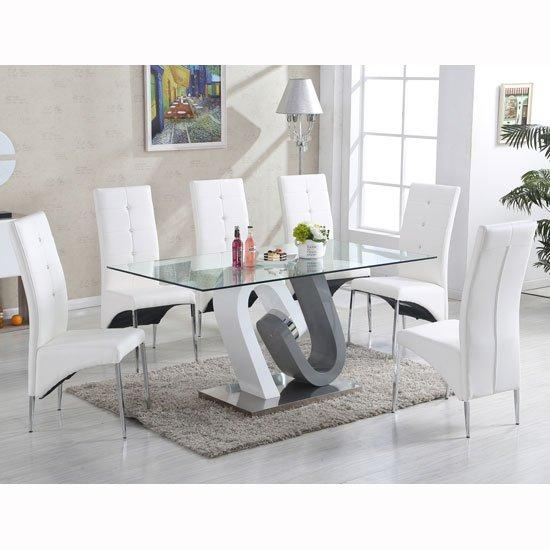 Barcelona Glass Dining Table In High Gloss And 6 Vesta Pertaining To Most Current White Gloss And Glass Dining Tables (Image 2 of 20)