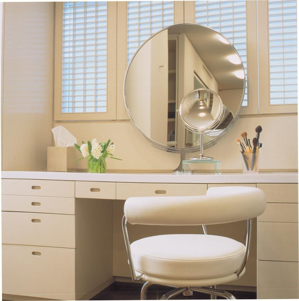 Baroque Magnifying Mirror With Light In Powder Room Contemporary Intended For Magnified Vanity Mirrors (Image 3 of 20)