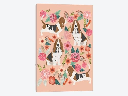 Basset Hound Floral Collage Art Printpet Friendly | Icanvas Within 3 Piece Floral Wall Art (View 18 of 20)