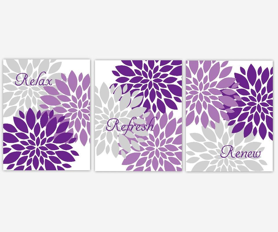 Bath Wall Art Lavender Purple Gray Spa Bath Flower Burst In Purple Bathroom Wall Art (View 15 of 20)
