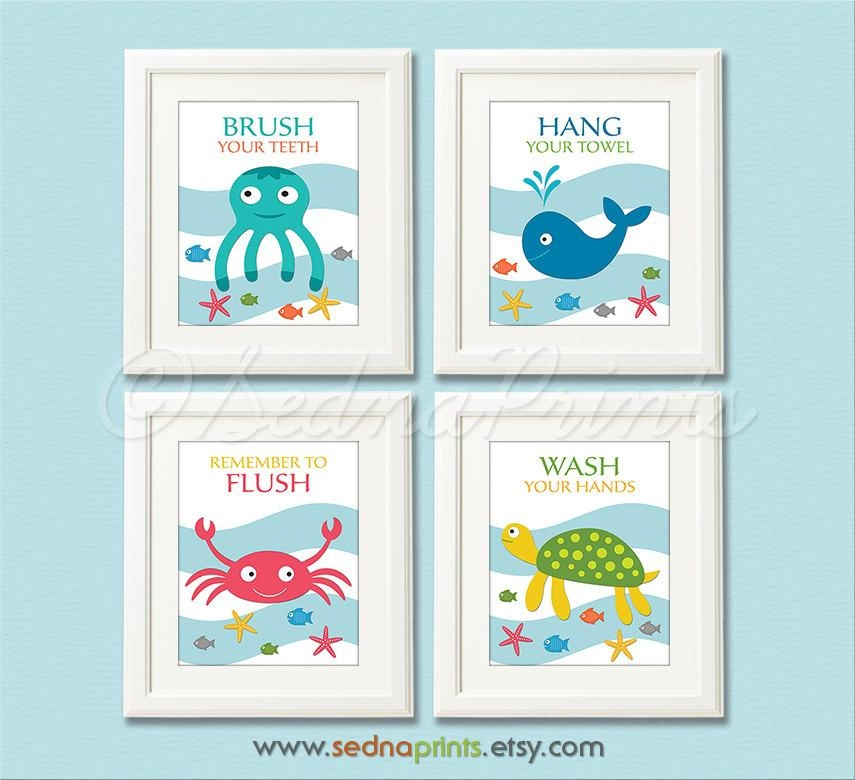 Bathroom Art Print Set 5X7 Kids Bathroom Wall Decor With Regard To Kids Bathroom Wall Art (Image 2 of 20)
