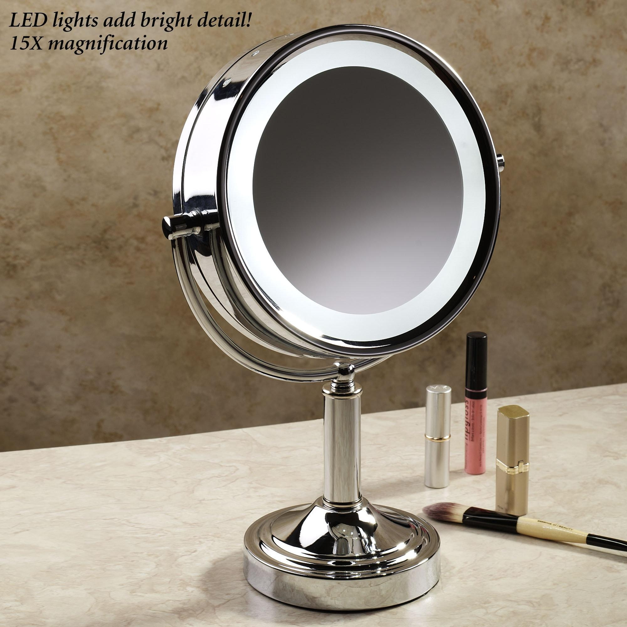 Bathroom: Bathroom Makeup Vanity Table With Magnifying Lighted In Magnified Vanity Mirrors (Image 5 of 20)