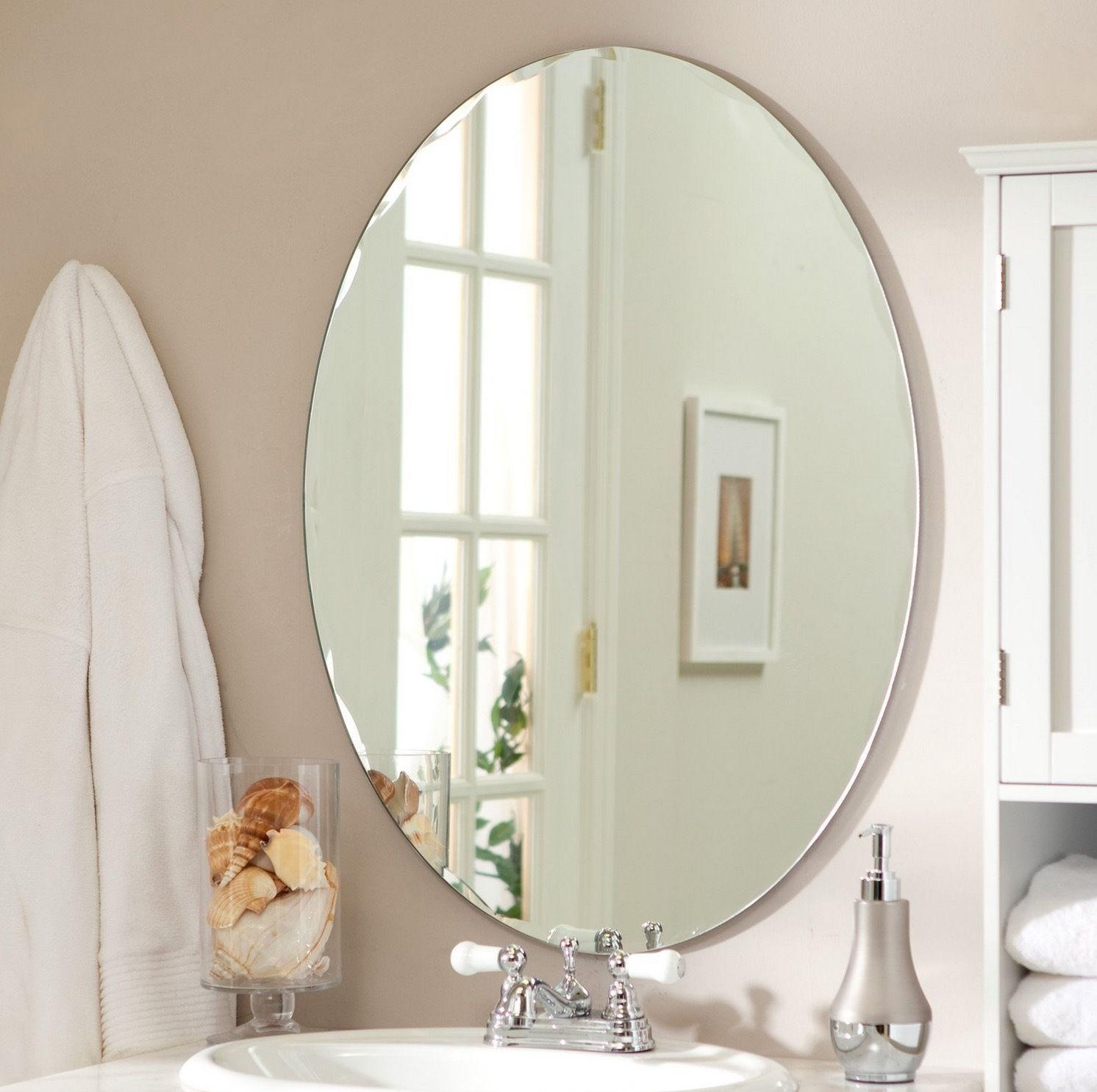 Bathroom Cabinets : Bathroom Wall Mirror Oval Beveled Vanity With Frameless Beveled Bathroom Mirrors (Image 2 of 20)