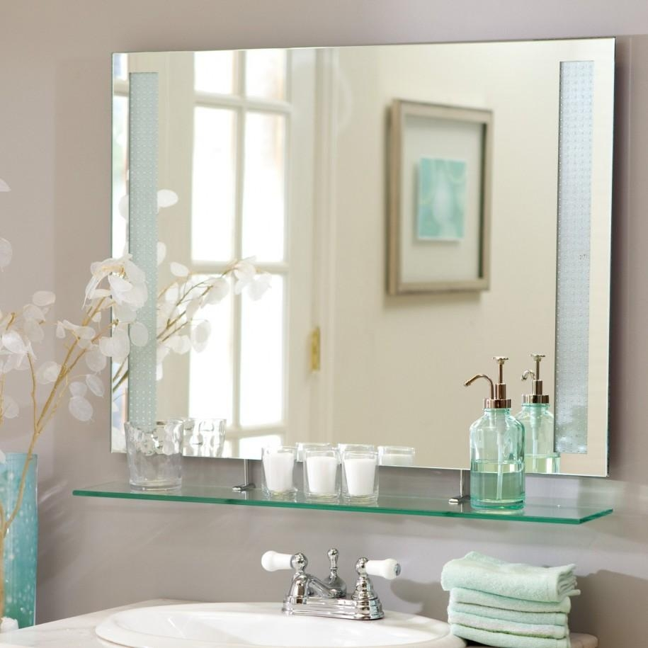 Bathroom Cabinets : Epic Beveled Glass Frameless Bathroom Mirrors With Regard To Frameless Beveled Bathroom Mirrors (Image 4 of 20)