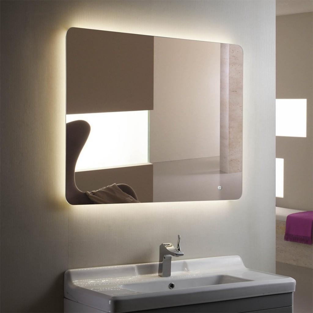 Bathroom Cabinets : Horizontal Led Bathroom Silvered Mirror With With Regard To Led Lighted Mirrors (Image 3 of 20)