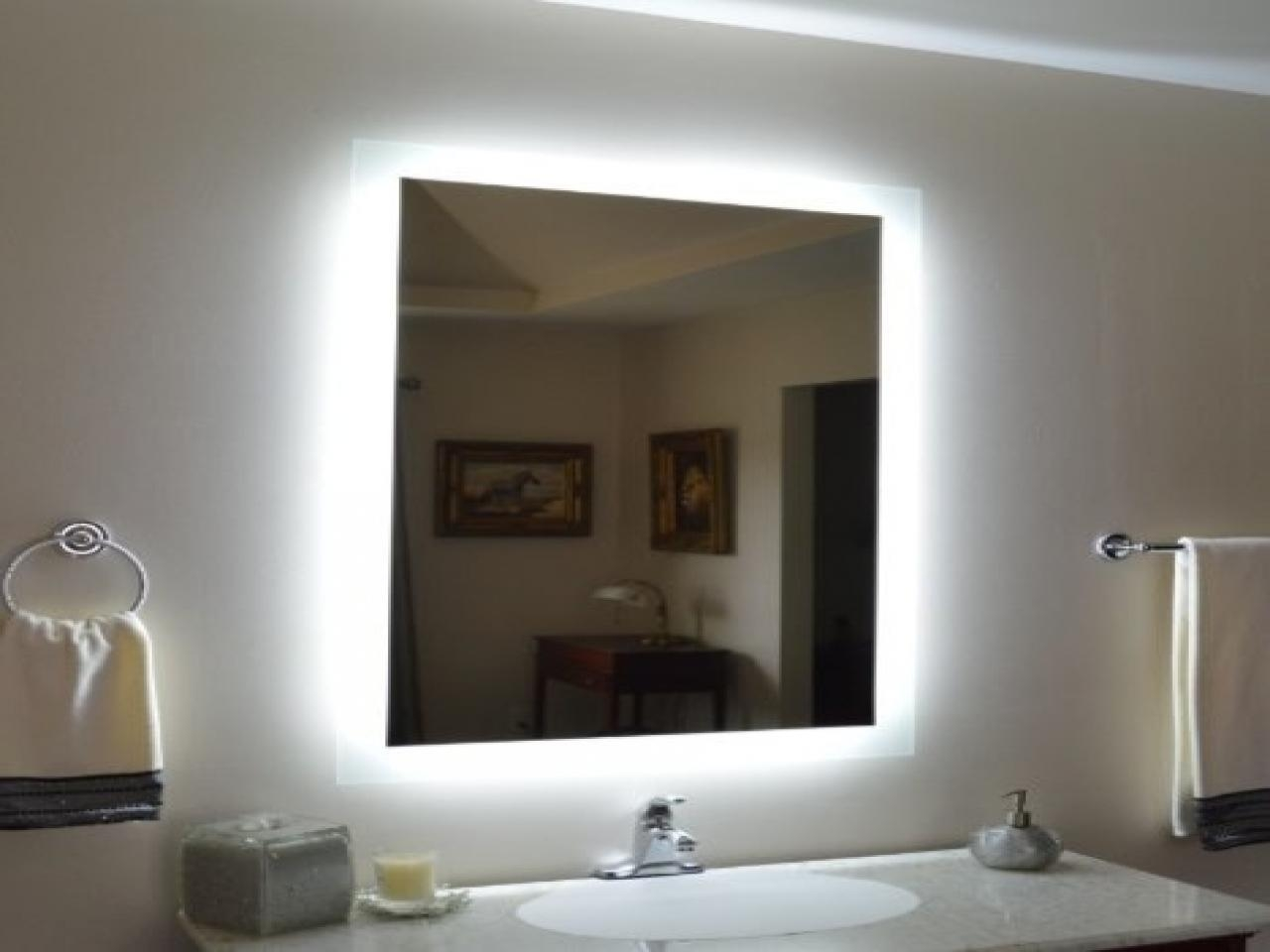 Halo Wide Led Light Bathroom Mirror: Led Lit Bathroom Mirrors