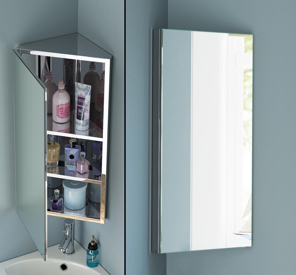 Bathroom Cabinets : Liberty Stainless Steel Corner Mirror Cabinet Throughout Corner Mirrors (Image 11 of 20)