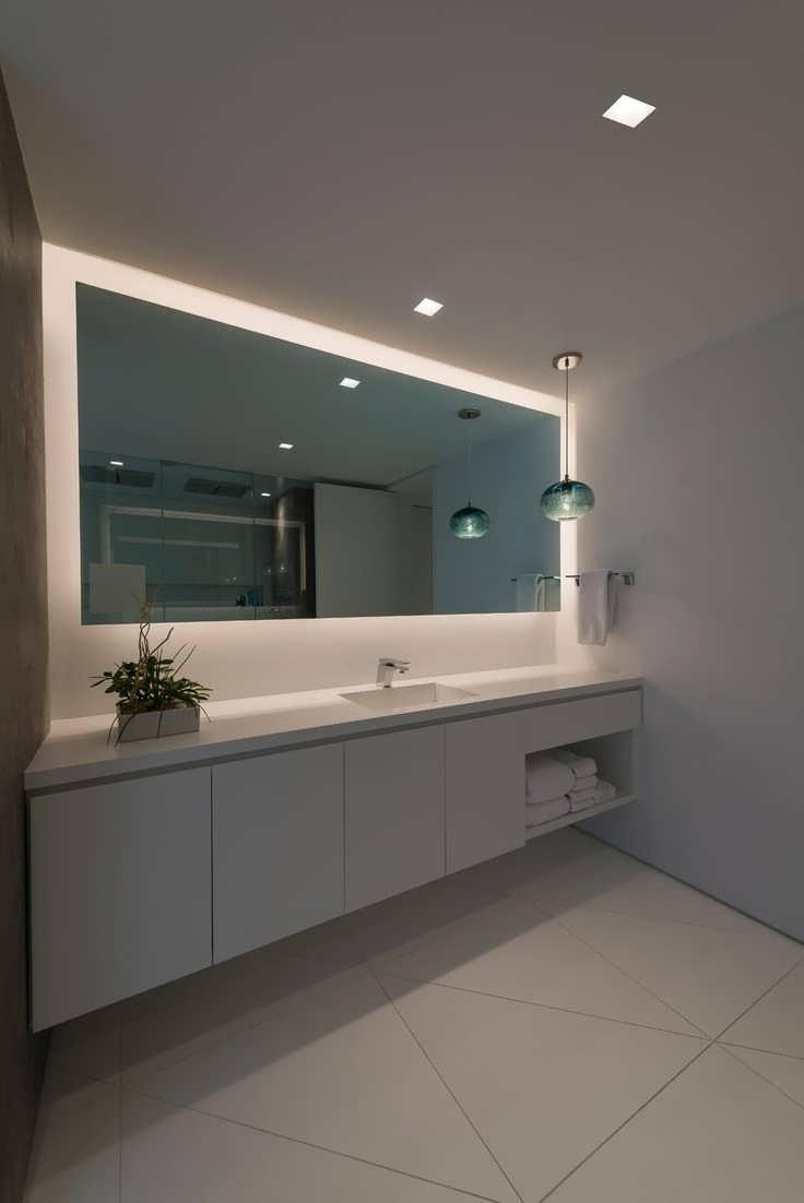 Bathroom Cabinets : Lighted Mirrors For Bathrooms Modern Modern Inside Large Flat Bathroom Mirrors (Image 6 of 20)