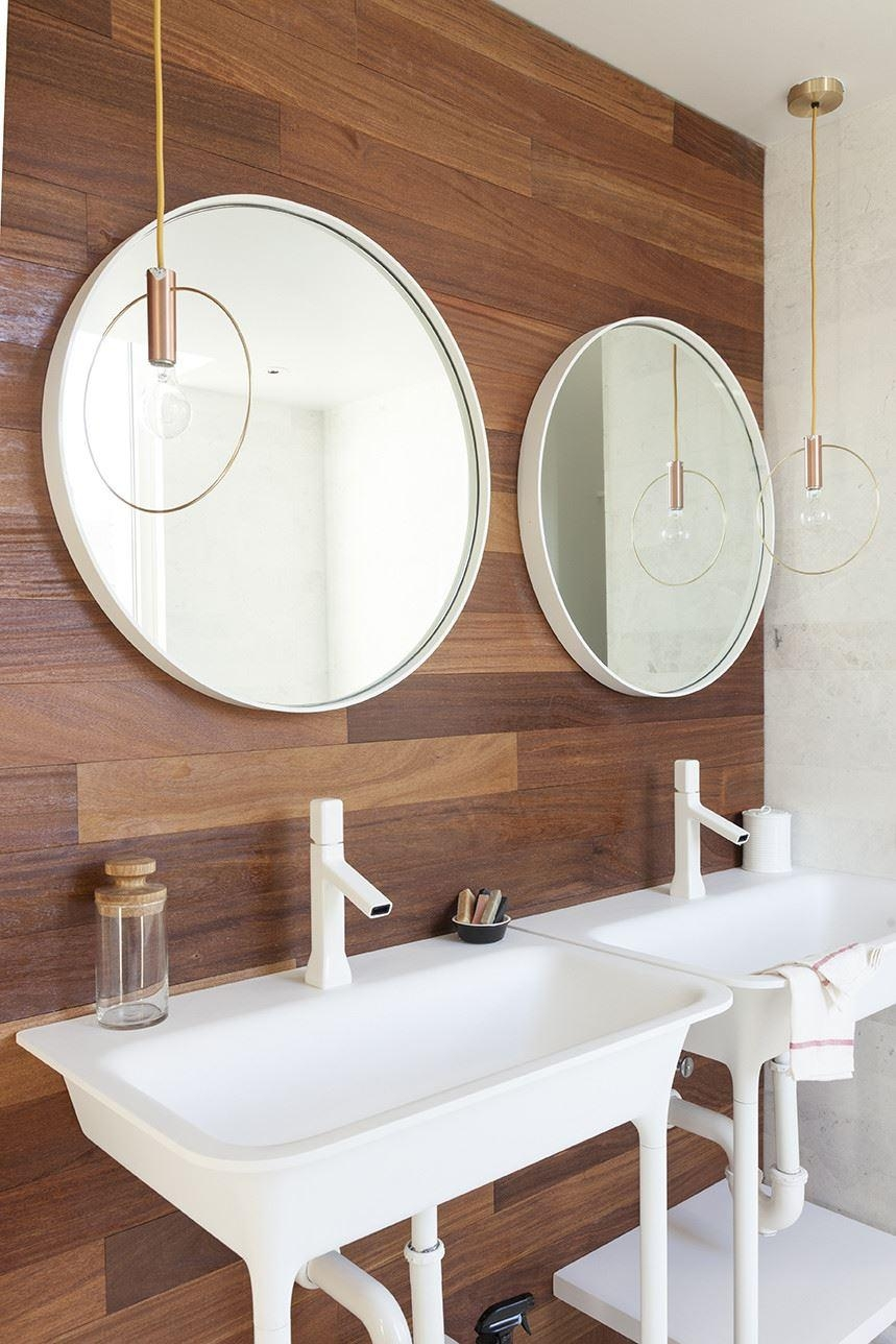 Bathroom Cabinets : Round Mirrors And Pendant Lighting In A Modern Within Round Mirrors For Bathroom (Image 4 of 20)