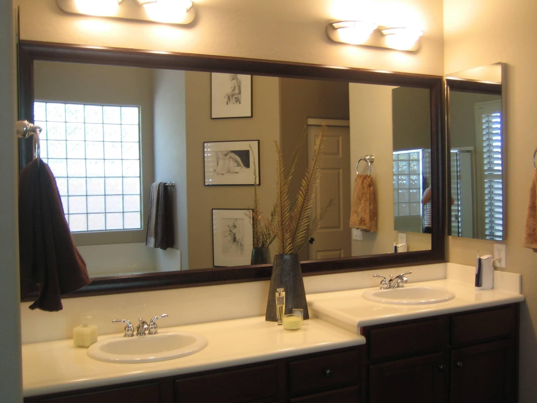Bathroom Cabinets : Rustic Bathroom Mirrors Black Rimmed Mirror Pertaining To Tall Bathroom Mirrors (View 18 of 20)