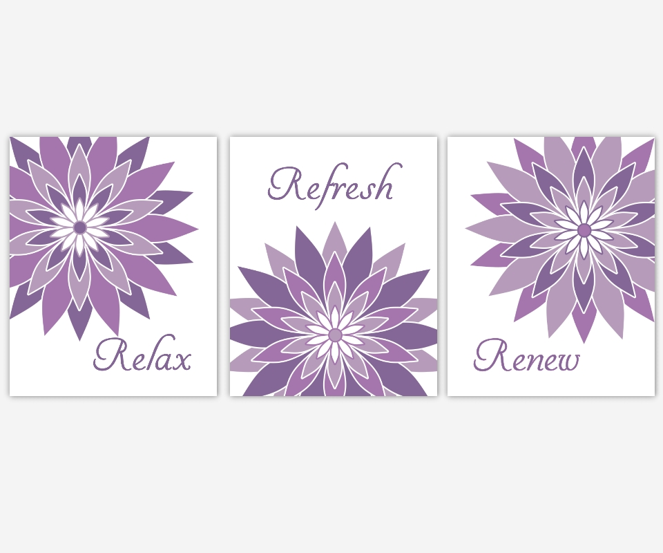 Bathroom Canvas Wall Art Purple Lavender Relax Refresh Renew Regarding Purple Bathroom Wall Art (Image 5 of 20)