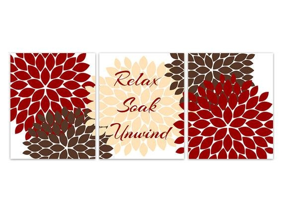 Bathroom Canvas Wall Art Relax Soak Unwind Red And Brown With Regard To Red Bathroom Wall Art (Image 3 of 20)