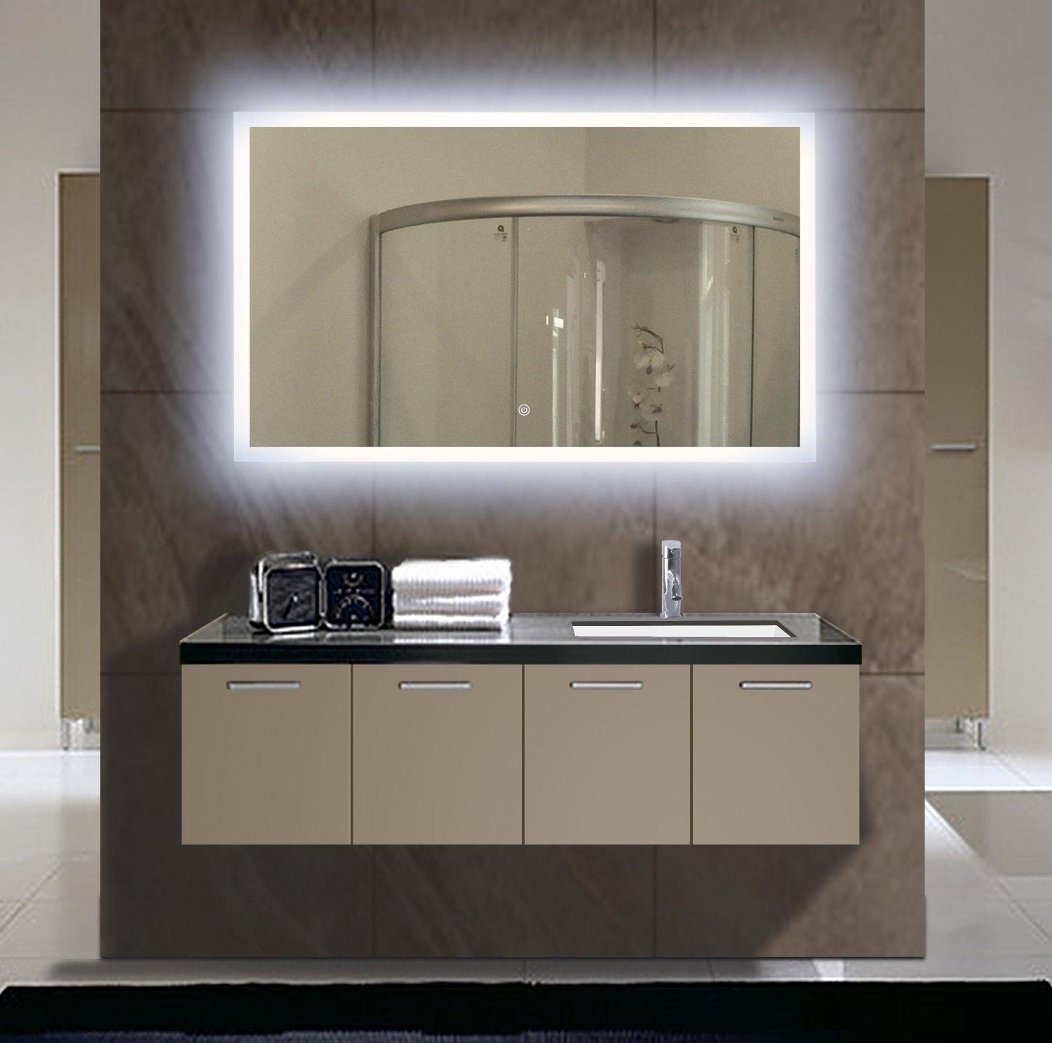 Bathroom : Classy Full Length Mirror With Led Lights Wall Mounted Pertaining To Wall Mounted Lighted Makeup Mirrors (Image 3 of 20)
