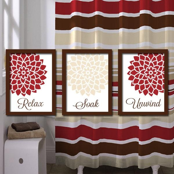 Bathroom Decor Bathroom Wall Art Canvas Or Prints Red Throughout Red Bathroom Wall Art (Image 4 of 20)