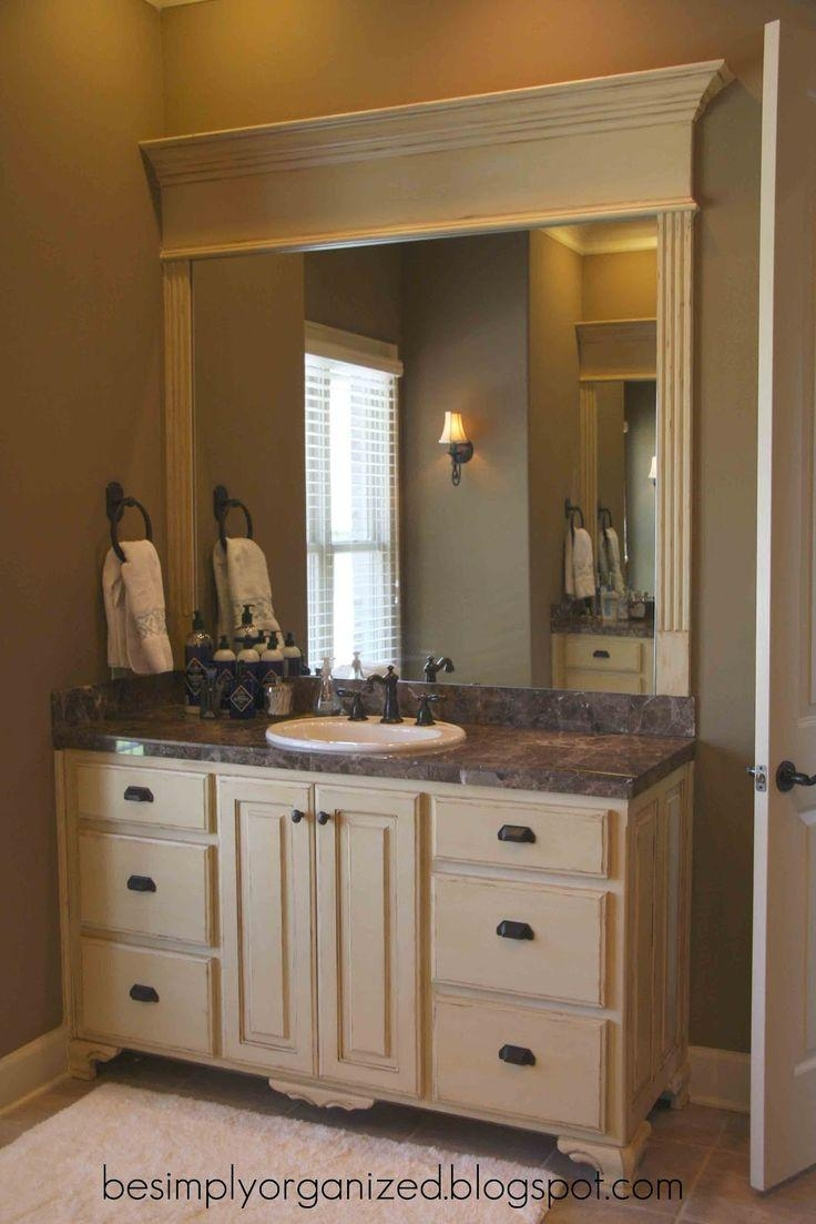 Bathroom Design : Amazing Washroom Vanity Wood Framed Bathroom Throughout Bathroom Mirrors Ideas With Vanity (Image 8 of 20)