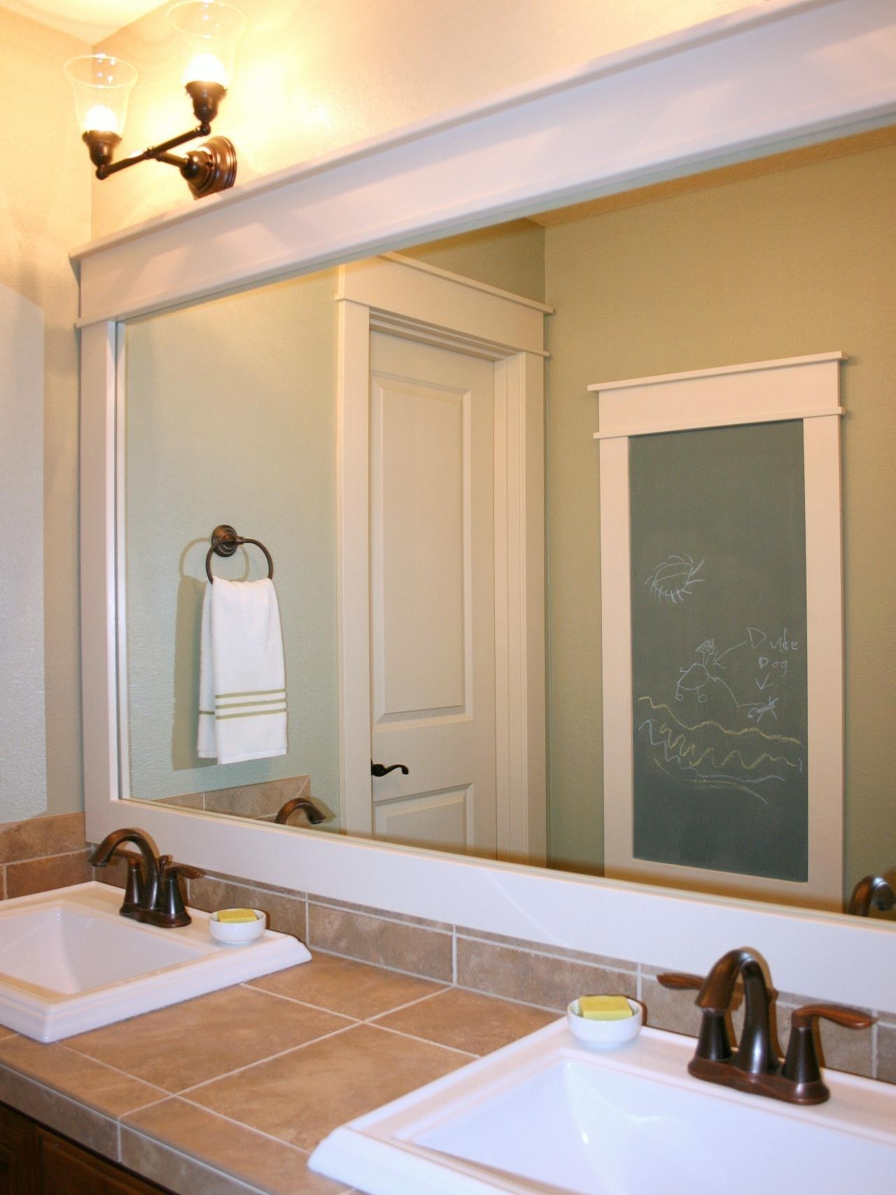 Bathroom: Elegant Bathroom Decor With Large Framed Bathroom Intended For Decorative Mirrors For Bathroom Vanity (Image 11 of 20)