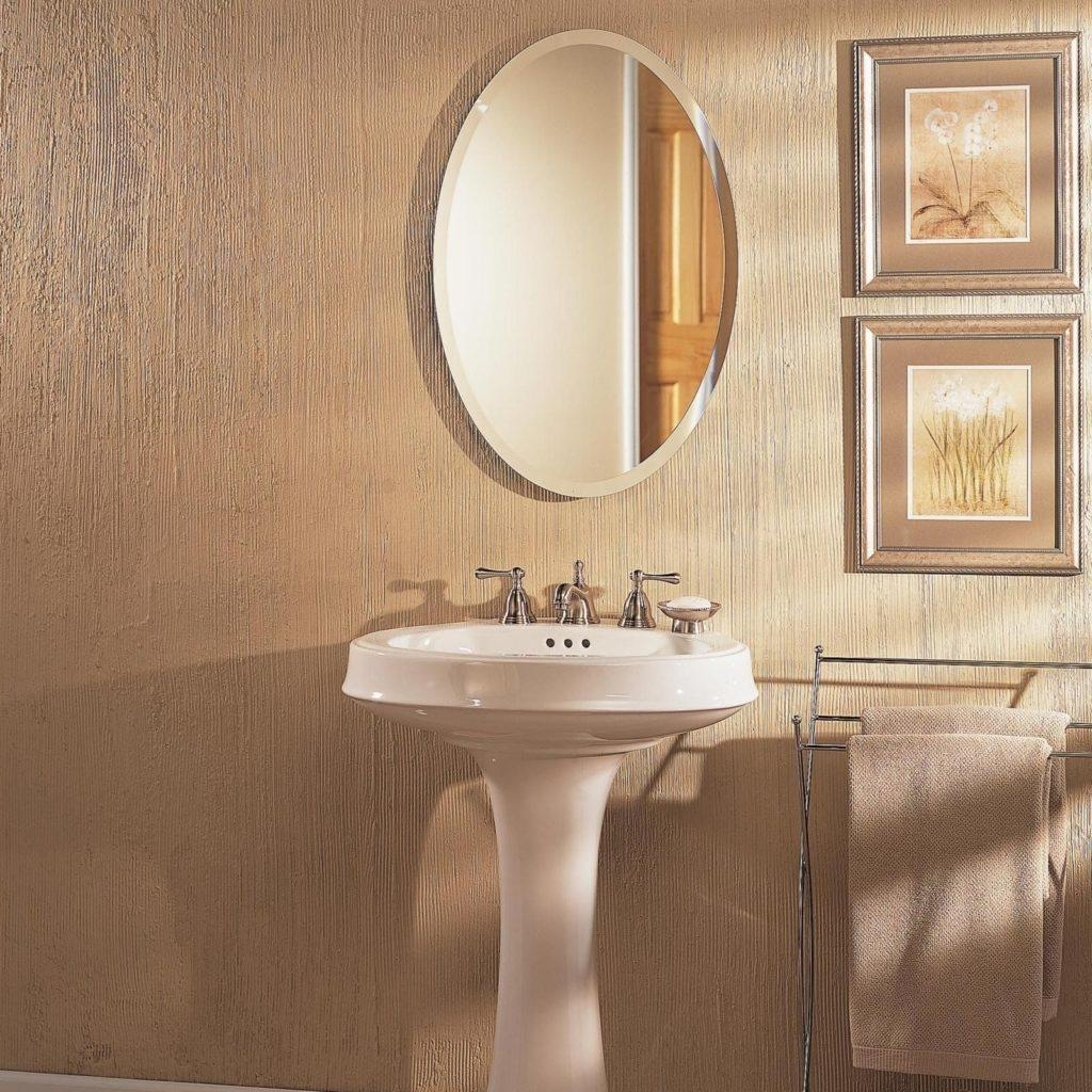 Bathroom: Elegant Bathroom Decor With Large Framed Bathroom Within Oval Bath Mirrors (Image 4 of 20)