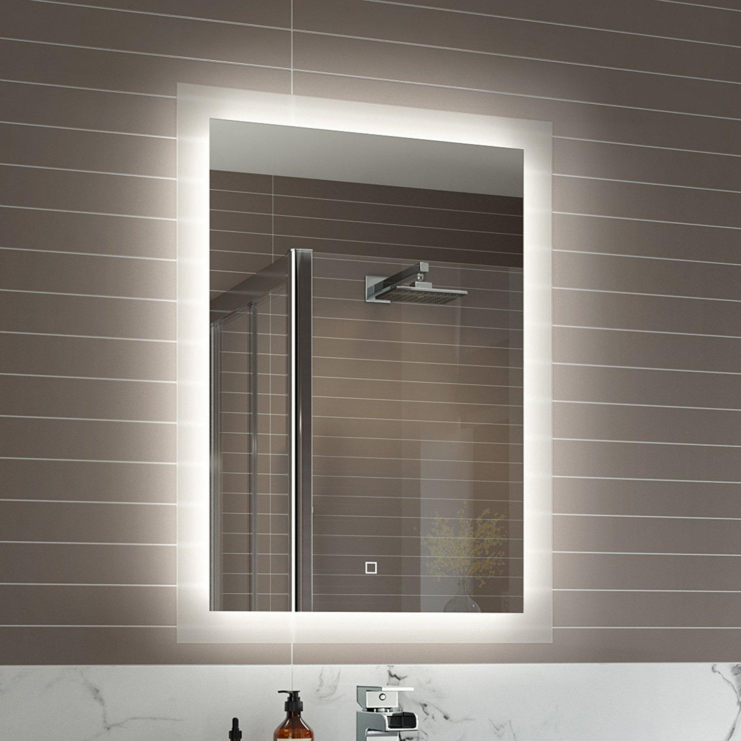 Bathroom : Extraordinary Framed Bathroom Mirrors Frameless With Regard To Bathroom Mirrors With Led Lights (Image 3 of 20)