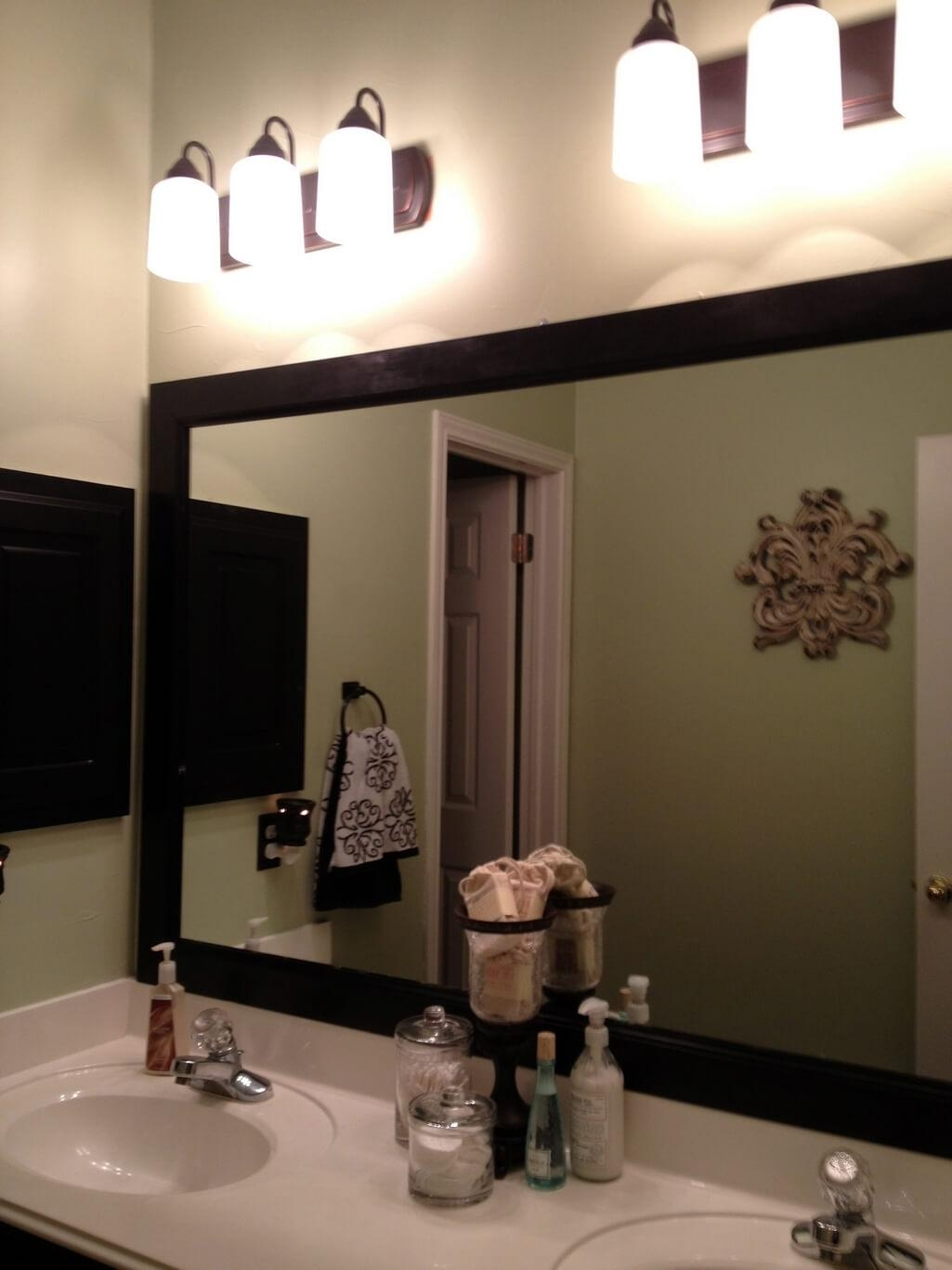 Bathroom: Gray Wood Eames Tulip Images Custom Framed Bathroom Intended For Custom Framed Mirrors Online (Image 3 of 20)