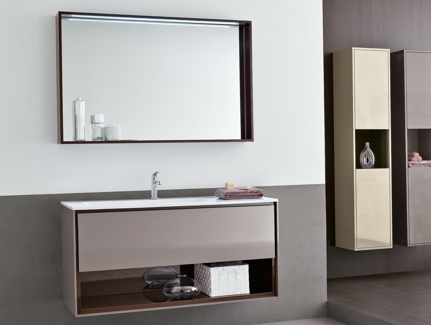 Bathroom Ideas: Large Bathroom Mirror With Shelf Above Single Sink Inside Tall Bathroom Mirrors (View 3 of 20)