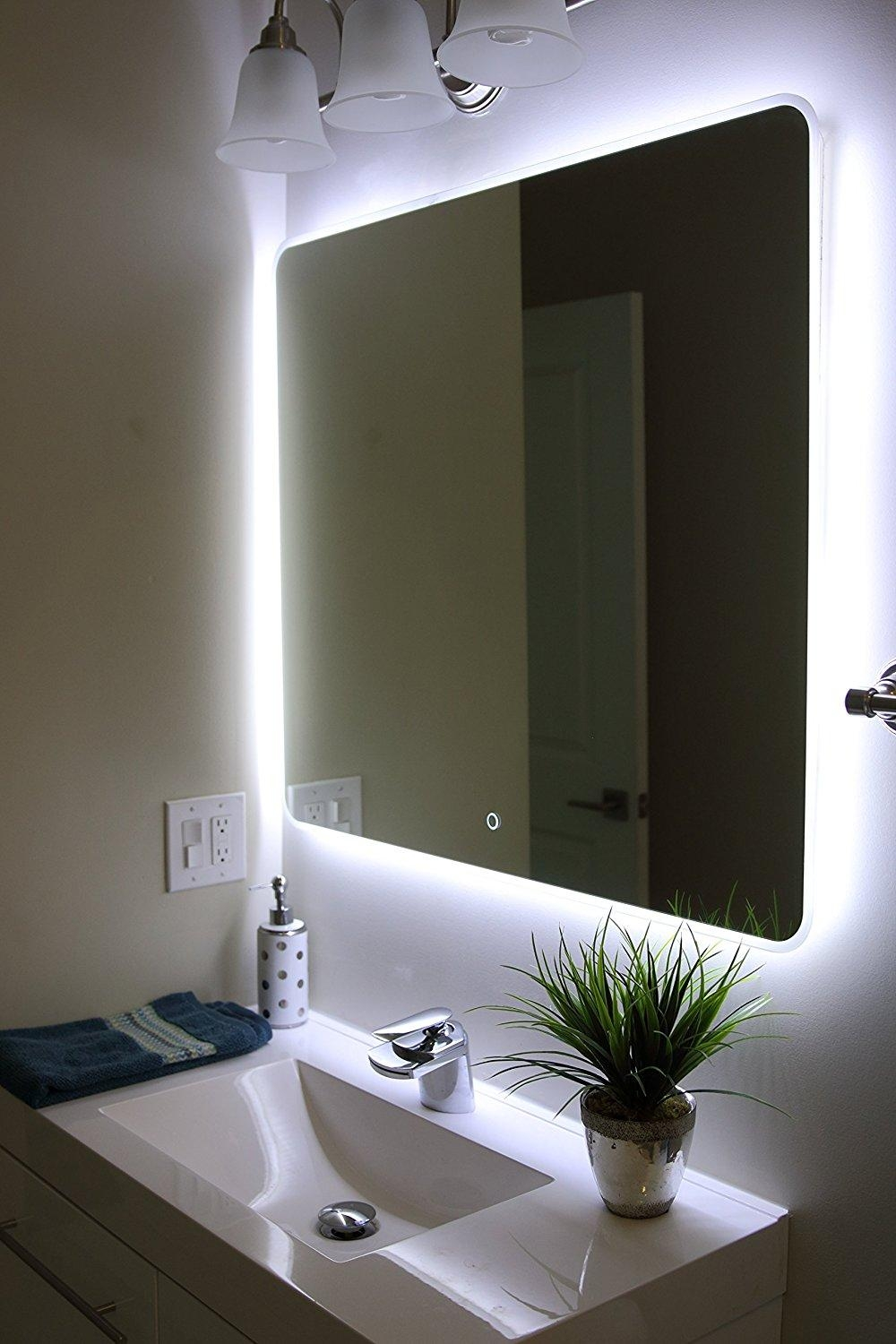 Bathroom : Lighted Bathroom Mirror 26 Shining Inspiration Light Up Pertaining To Lights For Bathroom Mirrors (Image 3 of 20)