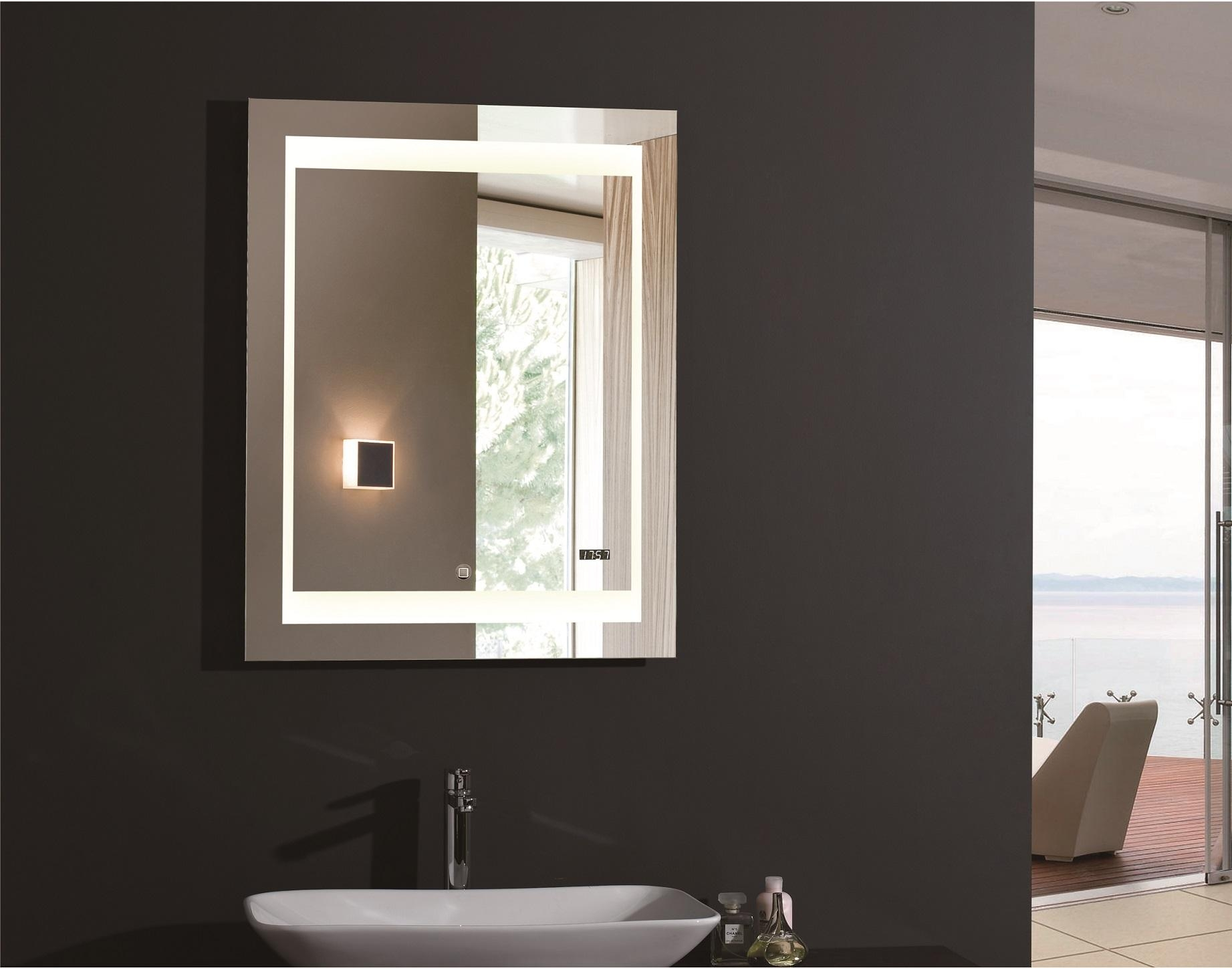 Bathroom: Lighted Bathroom Mirror | Vanity Lighted Mirror In Lighted Vanity Wall Mirrors (Image 4 of 20)
