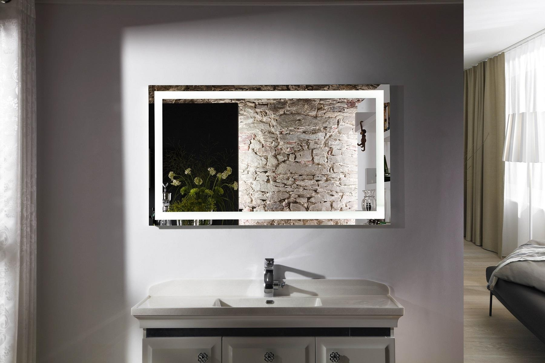 Bathroom: Lighted Bathroom Mirrors | Bathroom Vanity Mirror Lights Within Extra Wide Bathroom Mirrors (Image 7 of 20)