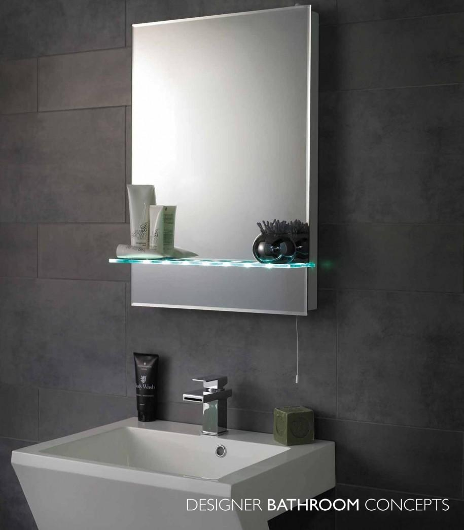 Bathroom: Luxury Bathroom Mirrors With Shelves Feat Satin Finish Intended For Modern Bath Mirrors (Image 6 of 20)