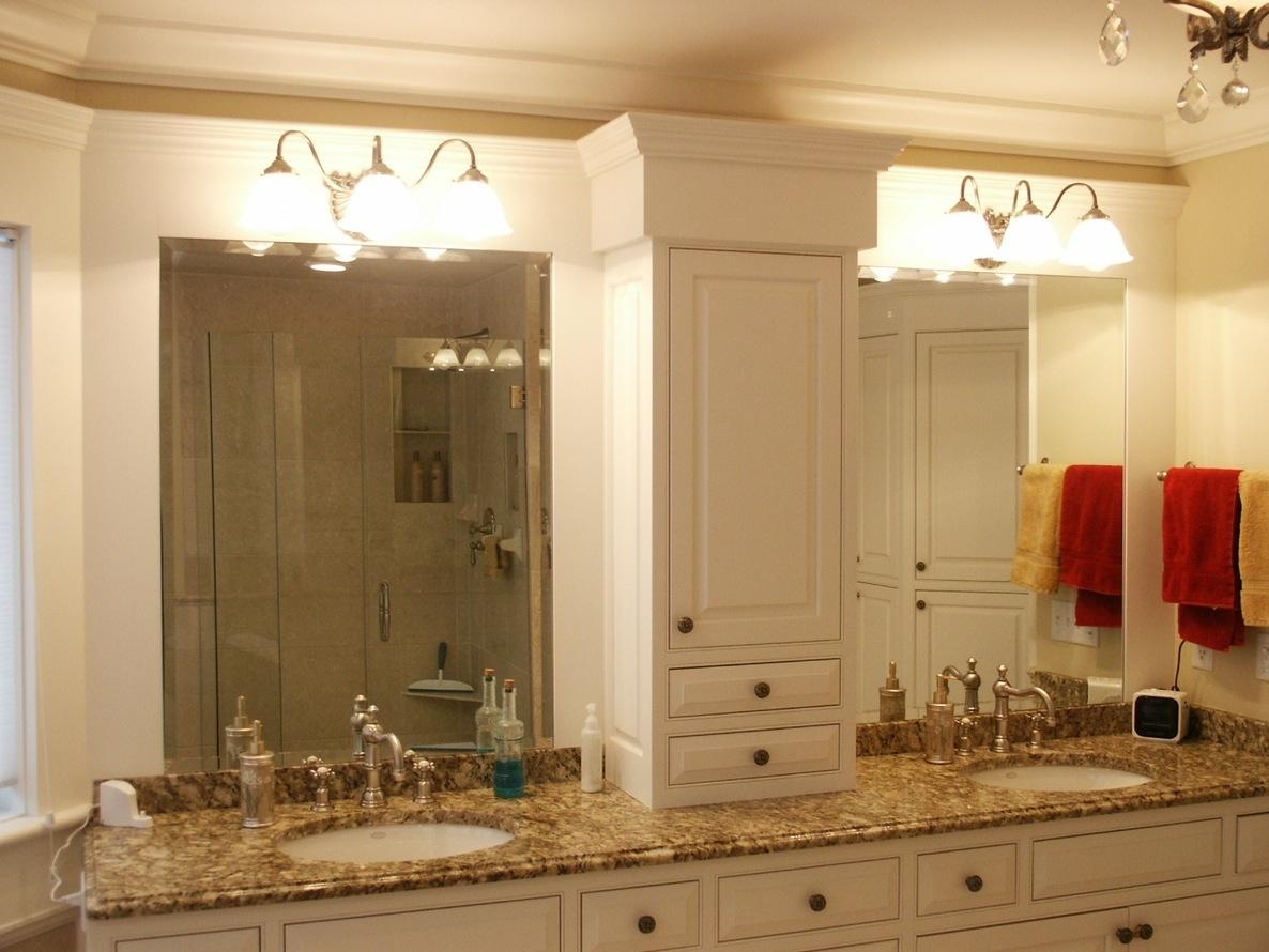 Bathroom Mirrors For Double Vanity White Cylinders Lights Plus In Double Vanity Bathroom Mirrors (Image 7 of 20)