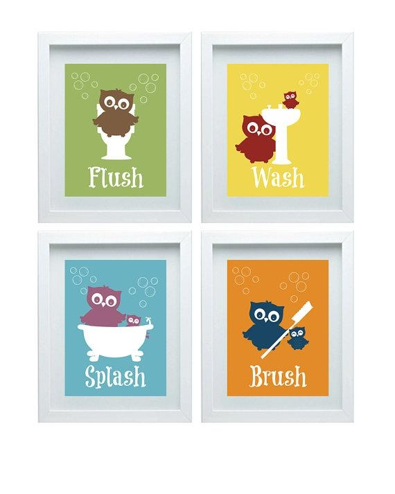 Bathroom Rules Art Kids Bathroom Decor Owl Wall Decor Set Of Regarding Kids Bathroom Wall Art (Image 4 of 20)