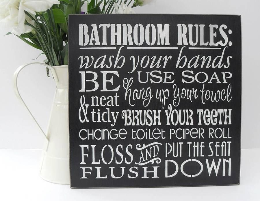 Bathroom Rules Wall Art Simply Simple Bathroom Rules Wall Art Intended For Bathroom Wall Hangings (Image 3 of 20)