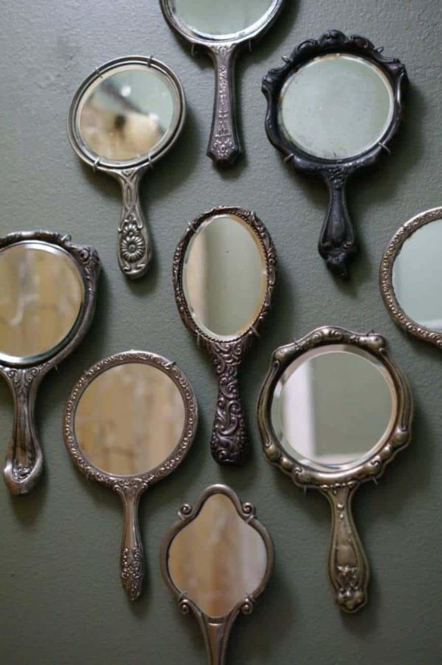 Bathroom Wall Art Multiple Vintage Hand Held Mirrors : Decorative Regarding Decorative Hand Mirrors (Image 3 of 20)