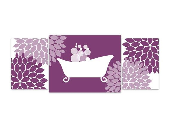Bathroom Wall Art Purple Bathroom Decor Instant Download For Purple Bathroom Wall Art (Image 7 of 20)