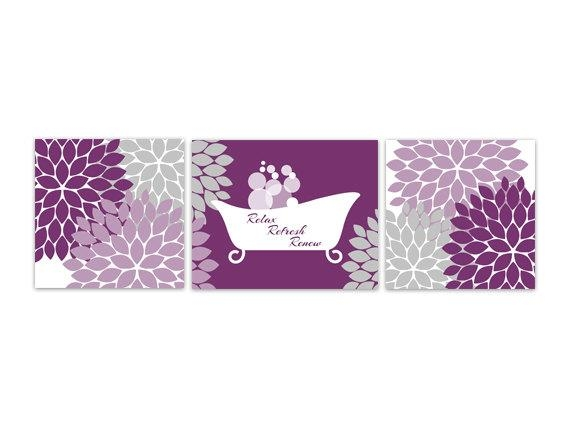 Bathroom Wall Art Purple Bathroom Decor Instant Download With Regard To Purple Bathroom Wall Art (View 2 of 20)