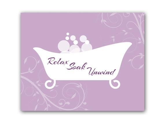 Bathroom Wall Art Purple Bathroom Decor Relax Soak Unwind Regarding Purple Bathroom Wall Art (Image 9 of 20)