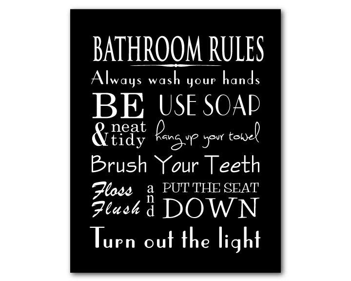Bathroom Wall Art Word Art Print Bathroom Rules With Black And White Bathroom Wall Art (View 7 of 20)