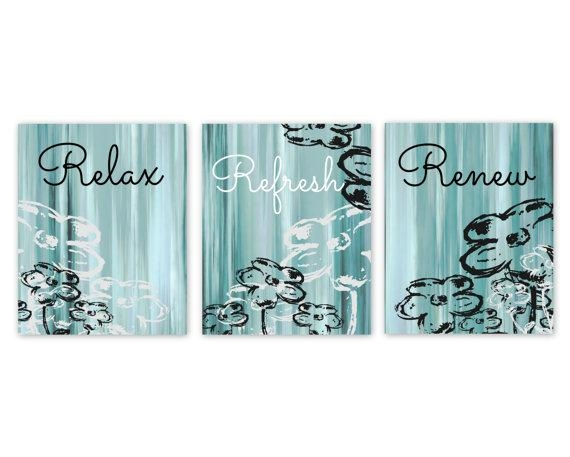 Bathroom Wall Decor Teal Bathroom Decor Aqua Bathroom Art In Teal And Black Wall Art (View 11 of 20)