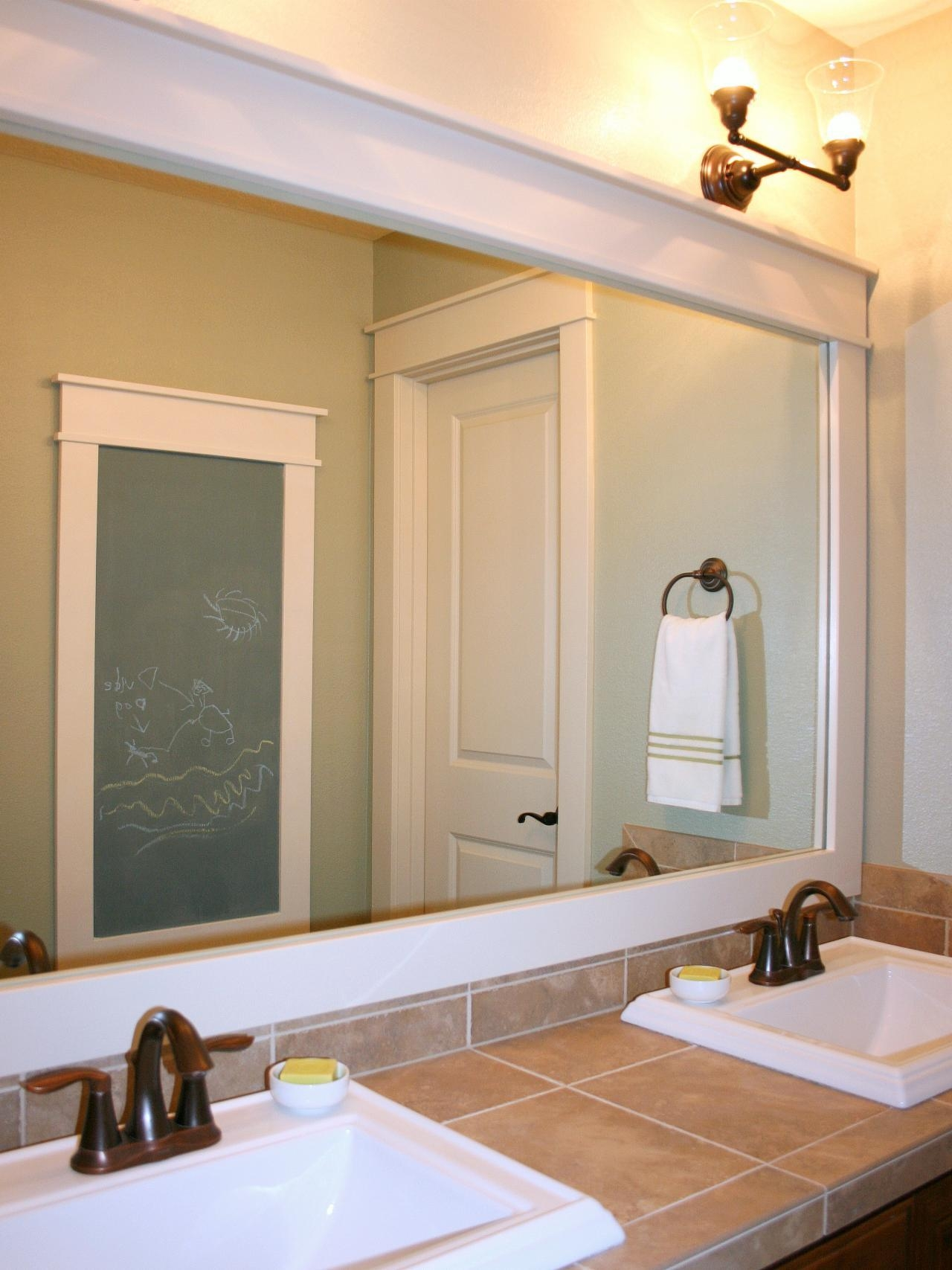 Bathroom Wall Mirror With White Painted Wooden Frame Of Inside Large Bathroom Wall Mirrors (Image 8 of 20)