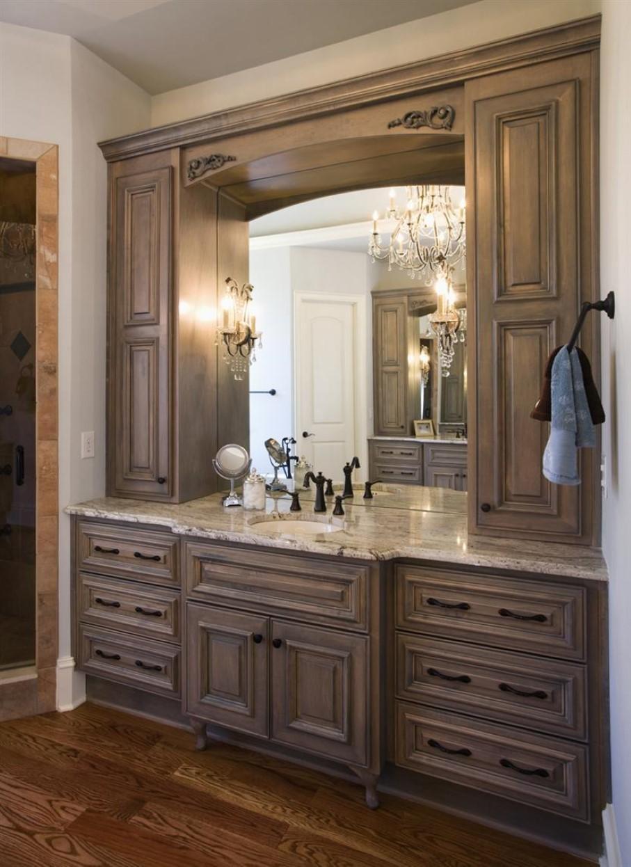 Bathrooms Design : Brown Floating Wood Vanity Rustic Wall Mounted Throughout Custom Bathroom Vanity Mirrors (View 15 of 20)