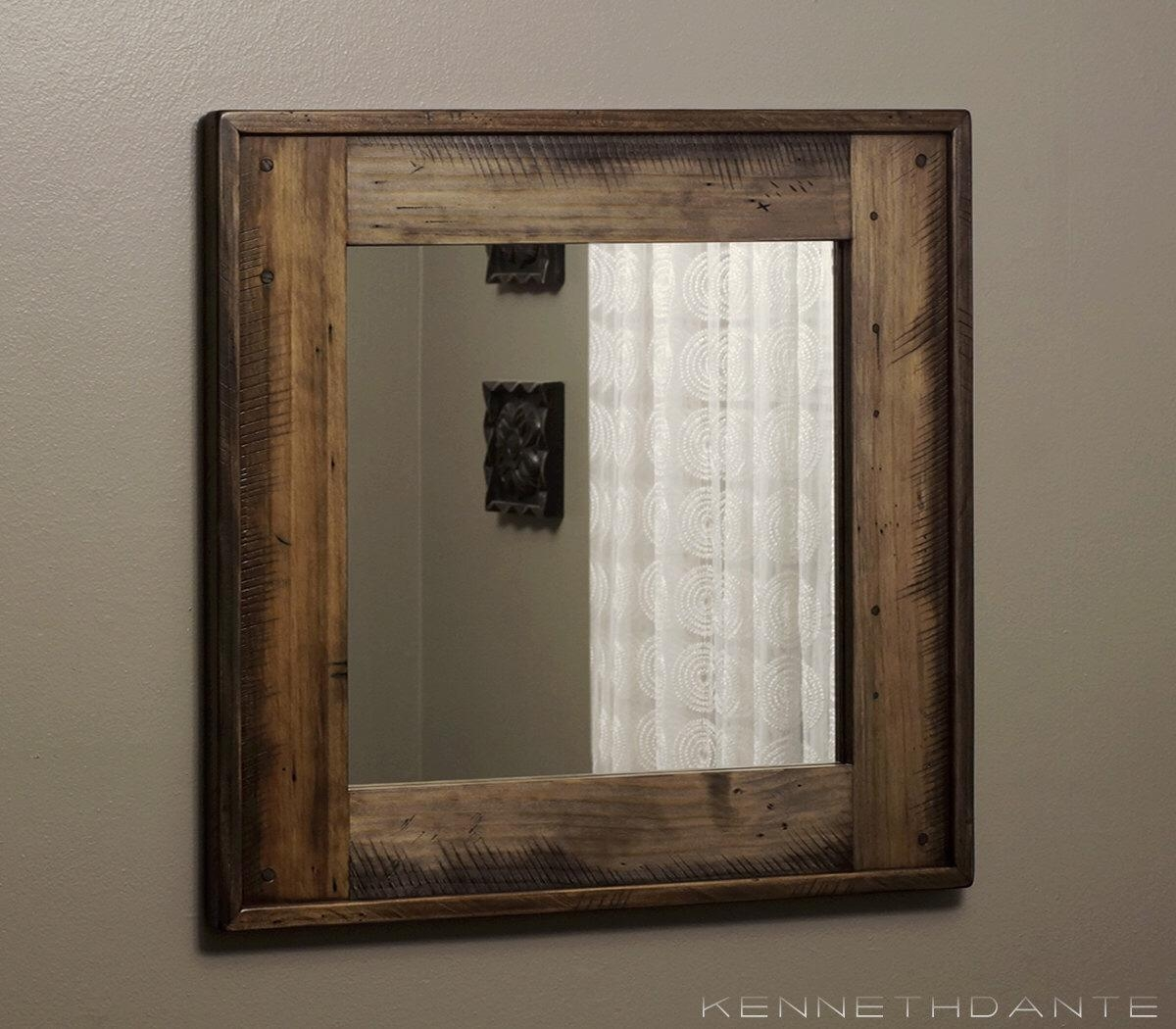 Bathrooms Design : Cool Recycled Wood Framed Mirrors Reclaimed In Natural Wood Framed Mirrors (Image 4 of 20)