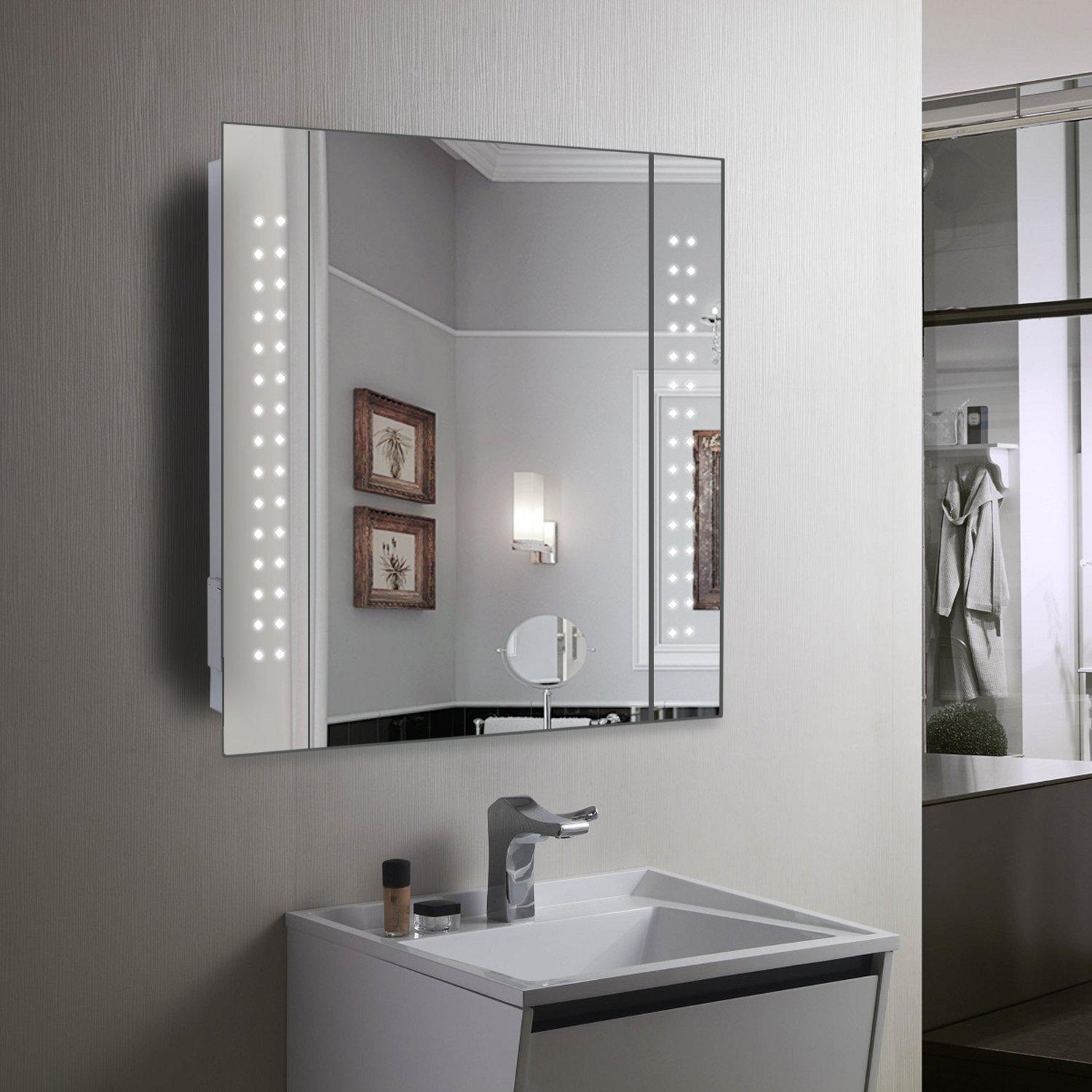Bathrooms Design : Large Bathroom Mirror Cabinet Illuminated Within Tall Bathroom Mirrors (View 8 of 20)
