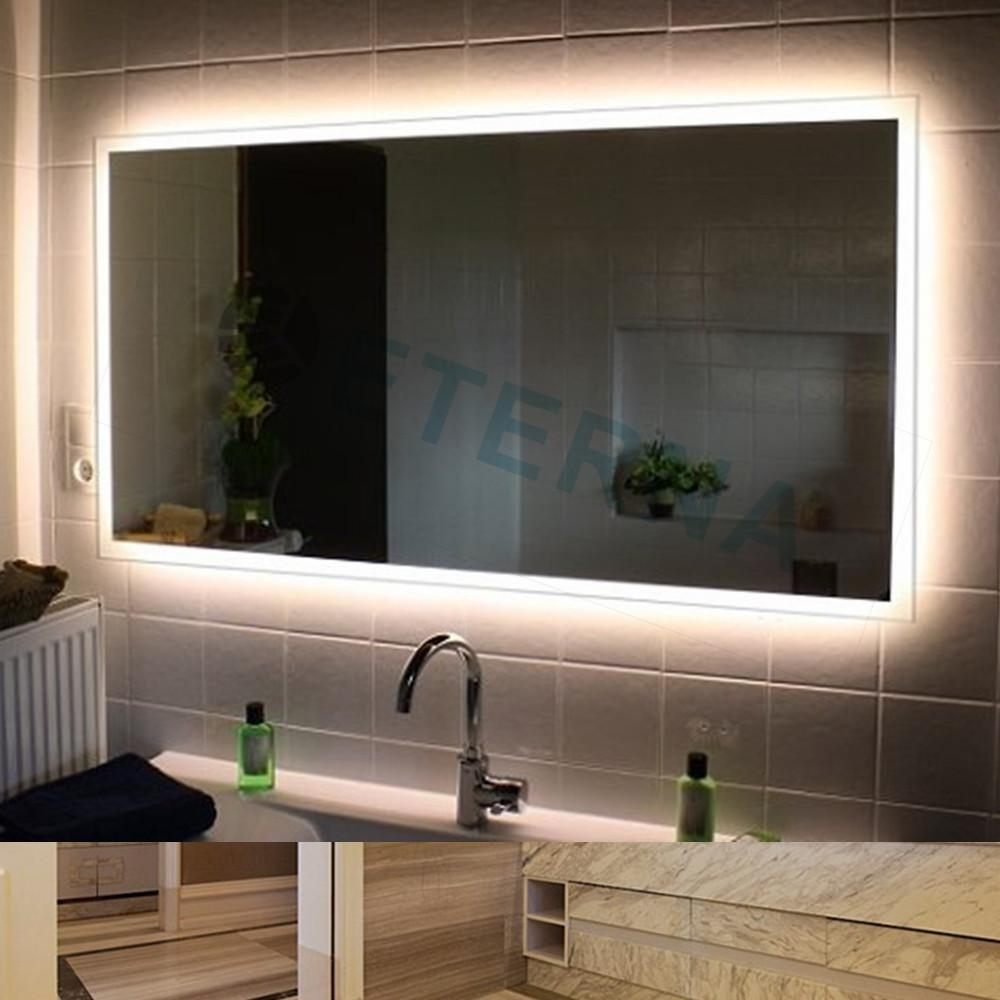 Bathrooms Design : Mirror With Lights Around The Edge Wall Vanity For Vanity Mirrors With Built In Lights (View 6 of 20)