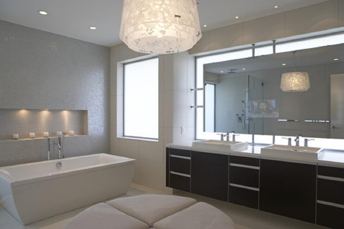 Bathrooms Design : Modern Bathroom Mirrors With Lighting Designer In Commercial Bathroom Mirrors (Image 13 of 20)